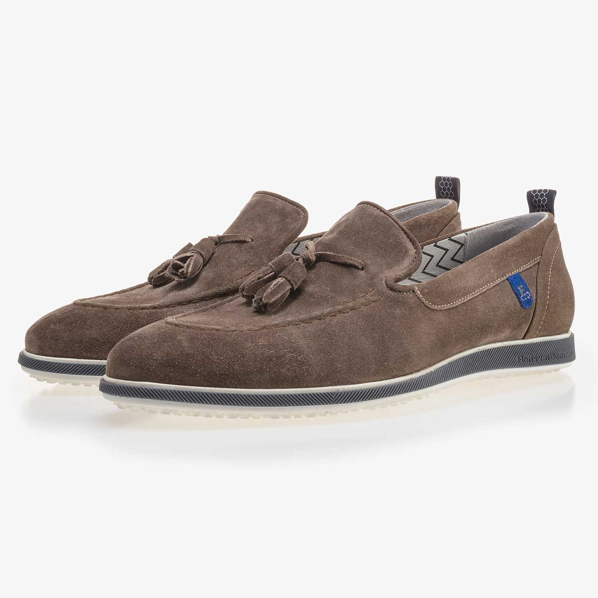 Taupe-coloured suede leather tassel loafer