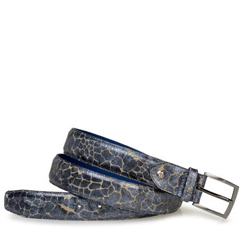 Gürtel blau Metallic-Print