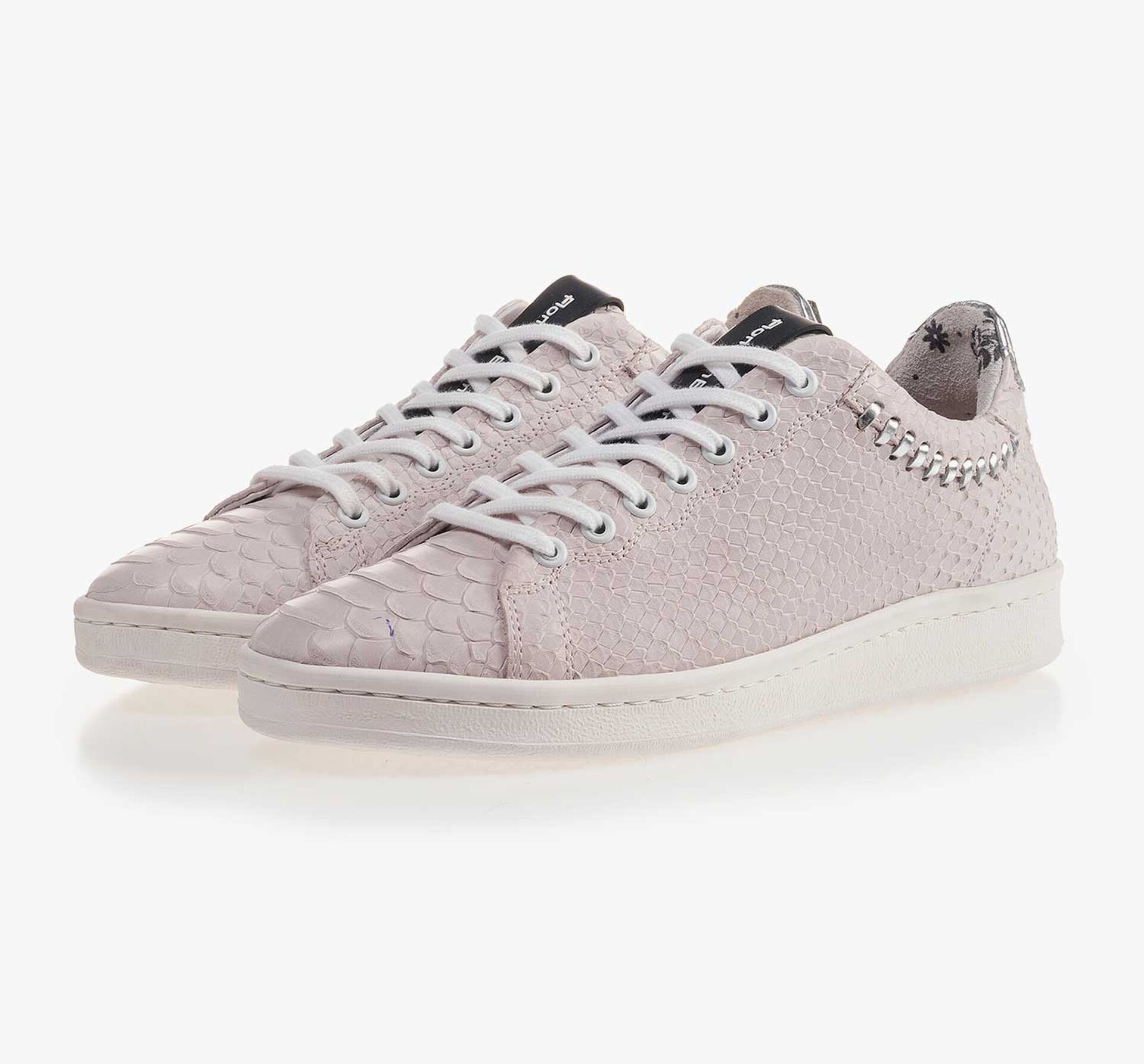 Light pink nubuck leather sneaker with snake print