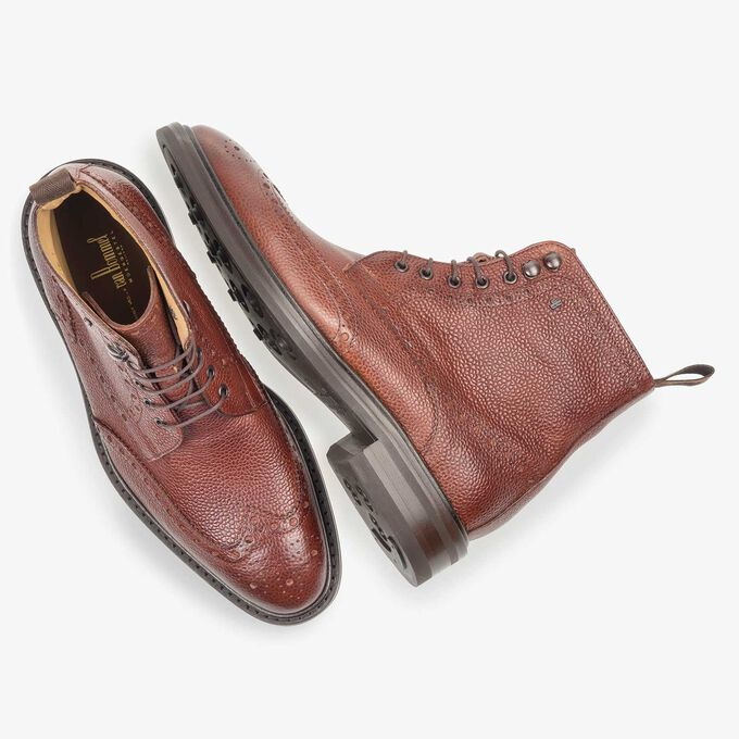 Cognac-coloured leather brogue lace boot