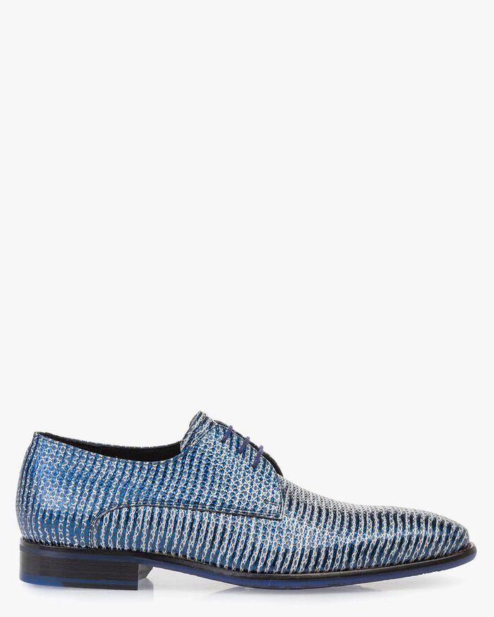 Lace shoe metallic with print blue