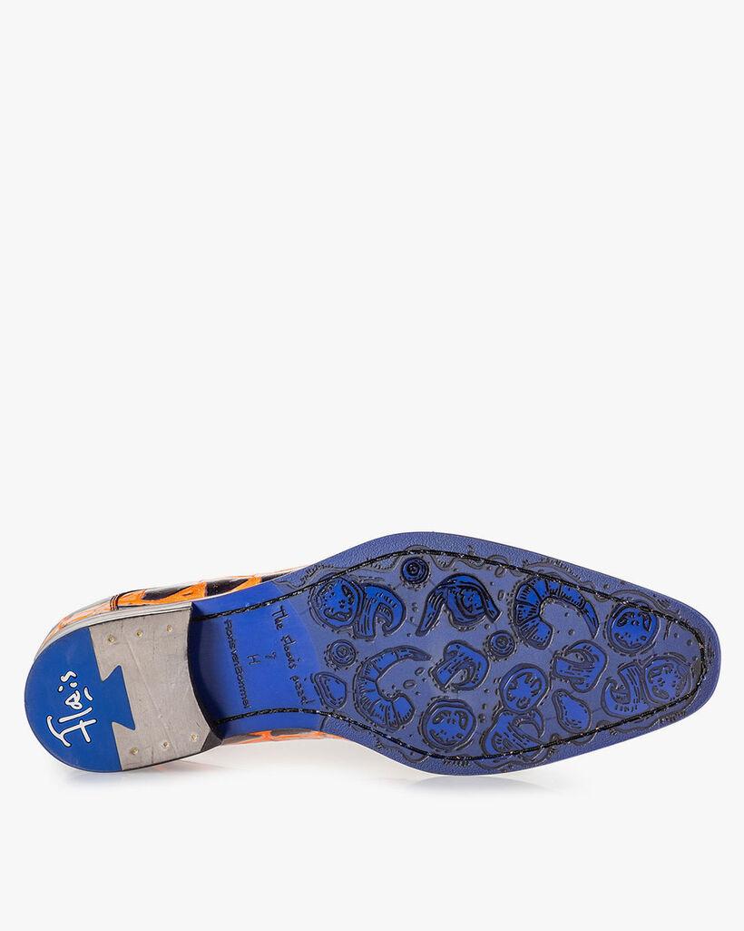 Schnürschuh Krokoprint orange