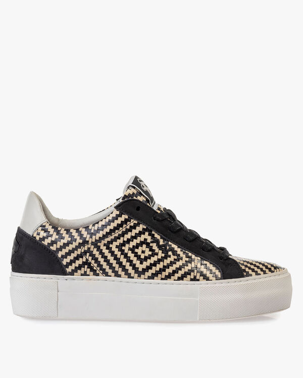 Sneaker printed leather black and white