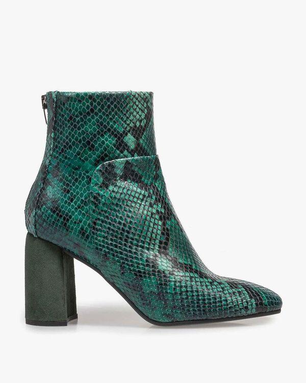 Grüne Leder-Stiefelette mit Schlangenprint