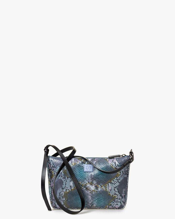 Crossbody-Tasche Leder mit Print blau