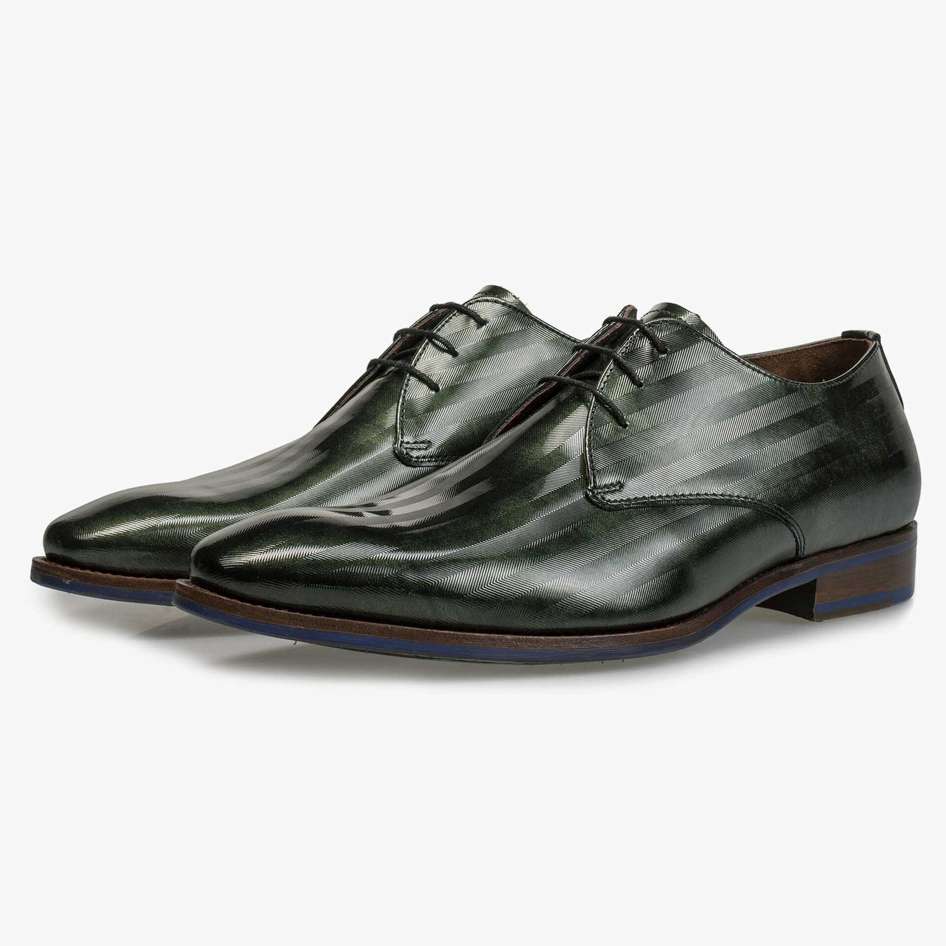 Green Premium patent leather lace shoe
