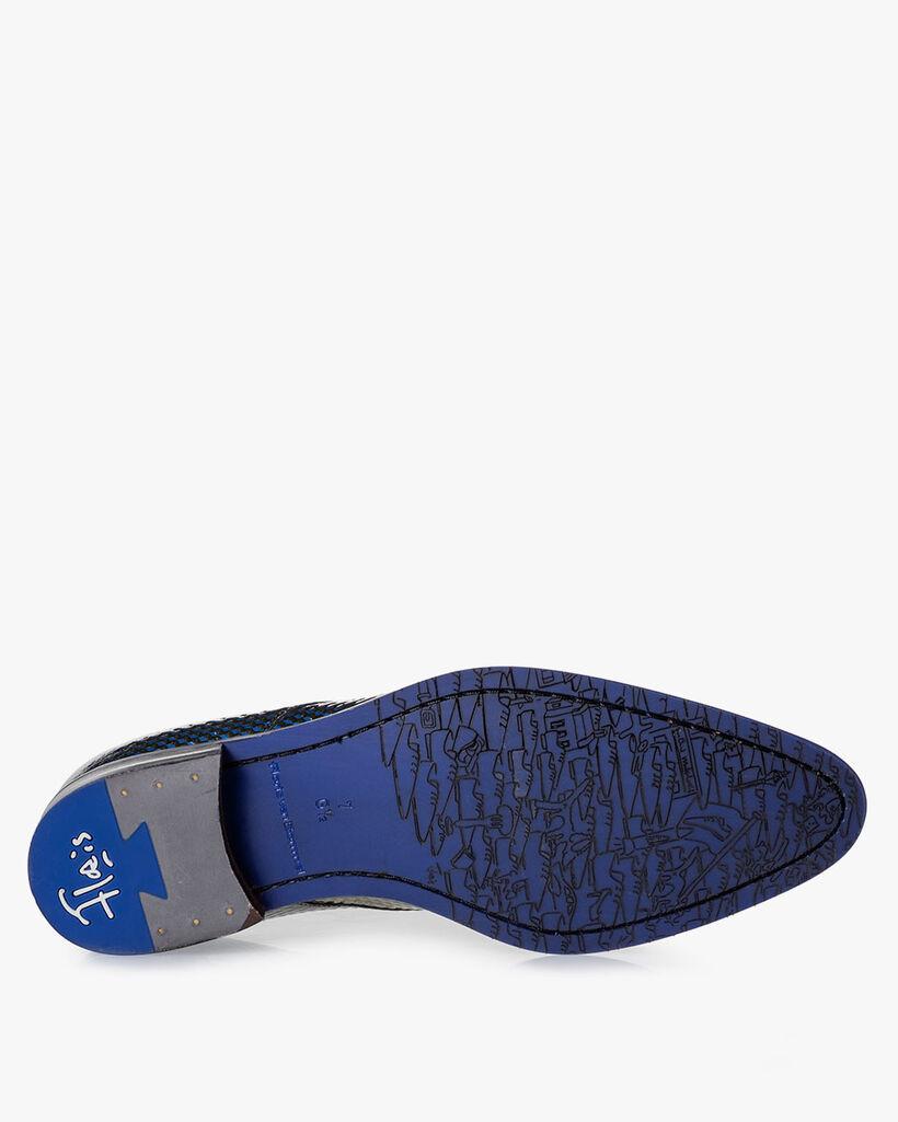 Schnürschuh Lackleder blau