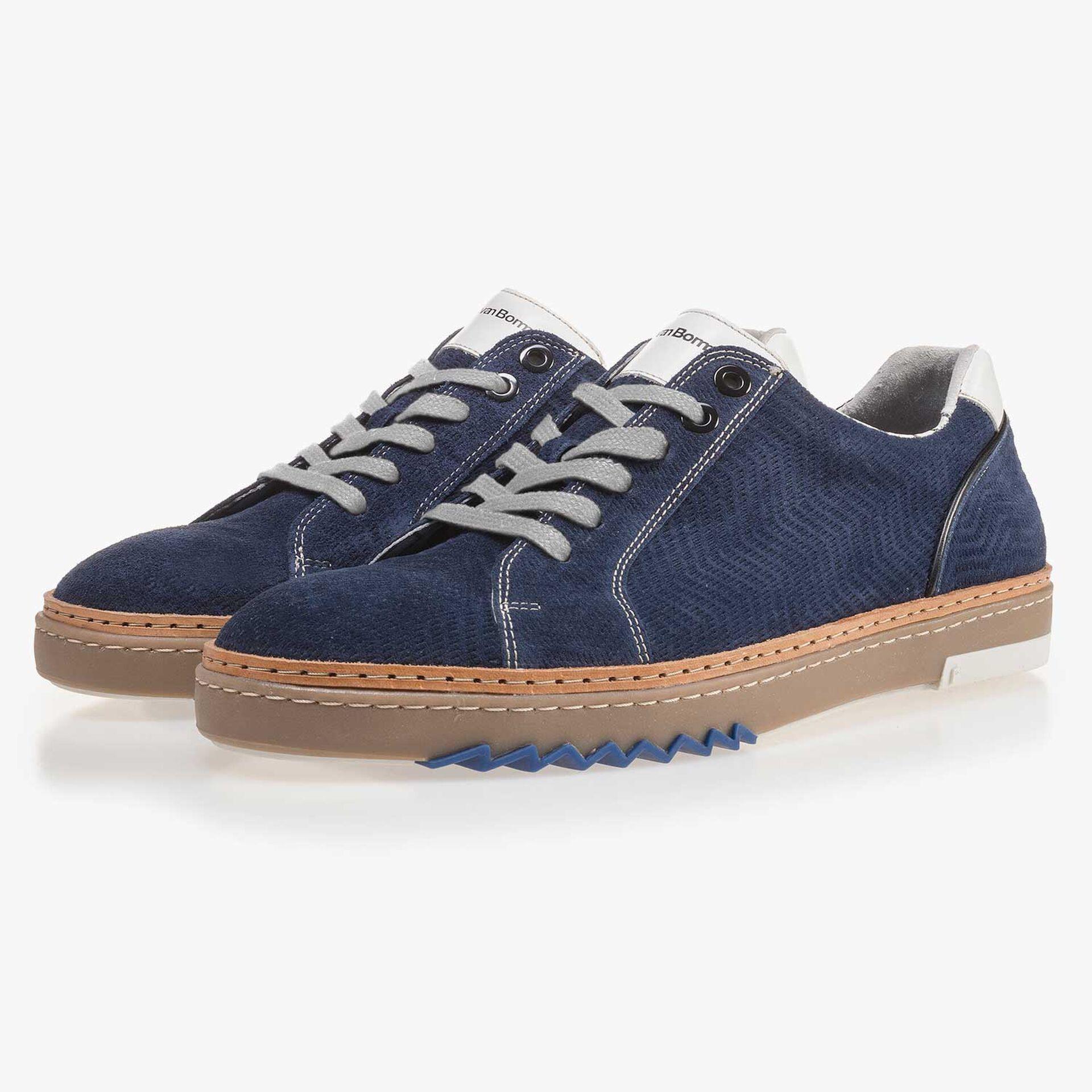 Blauer, gemusterter Wildleder Sneaker