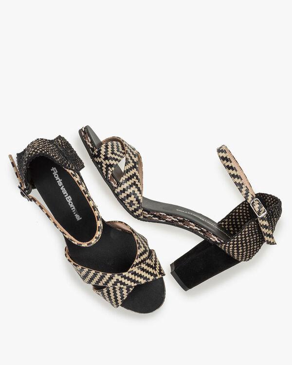 Sandale Leder mit Print schwarz-weiß