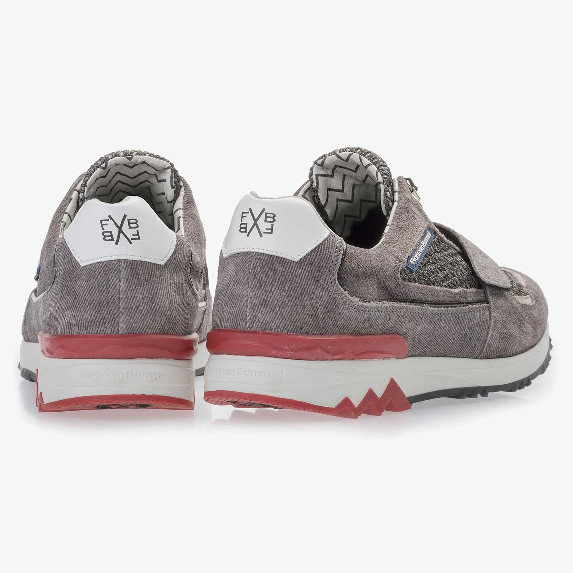 Premium Grauer Wildleder Sneaker mit Klettverschluß