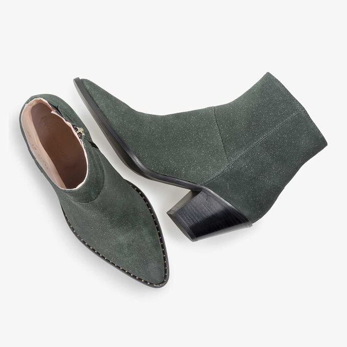 Olive green Western boot with glitter effect