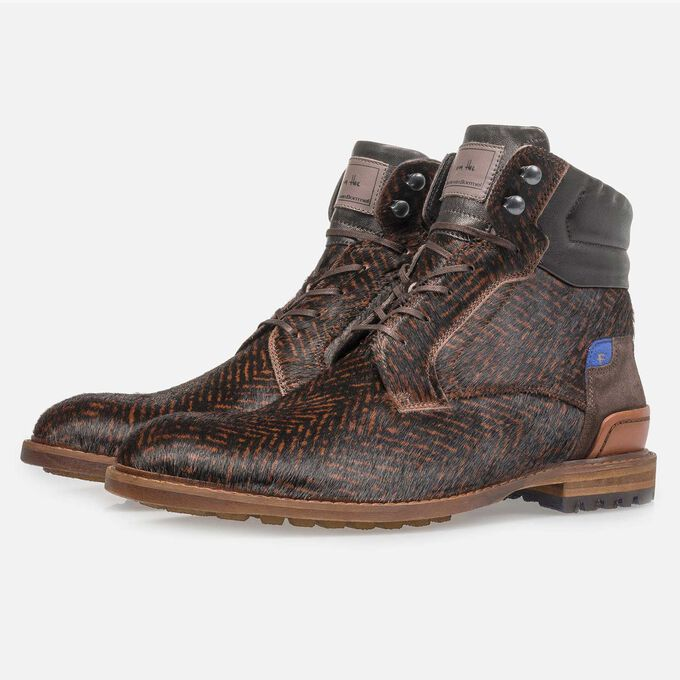Premium cognac-coloured printed pony hair lace boot