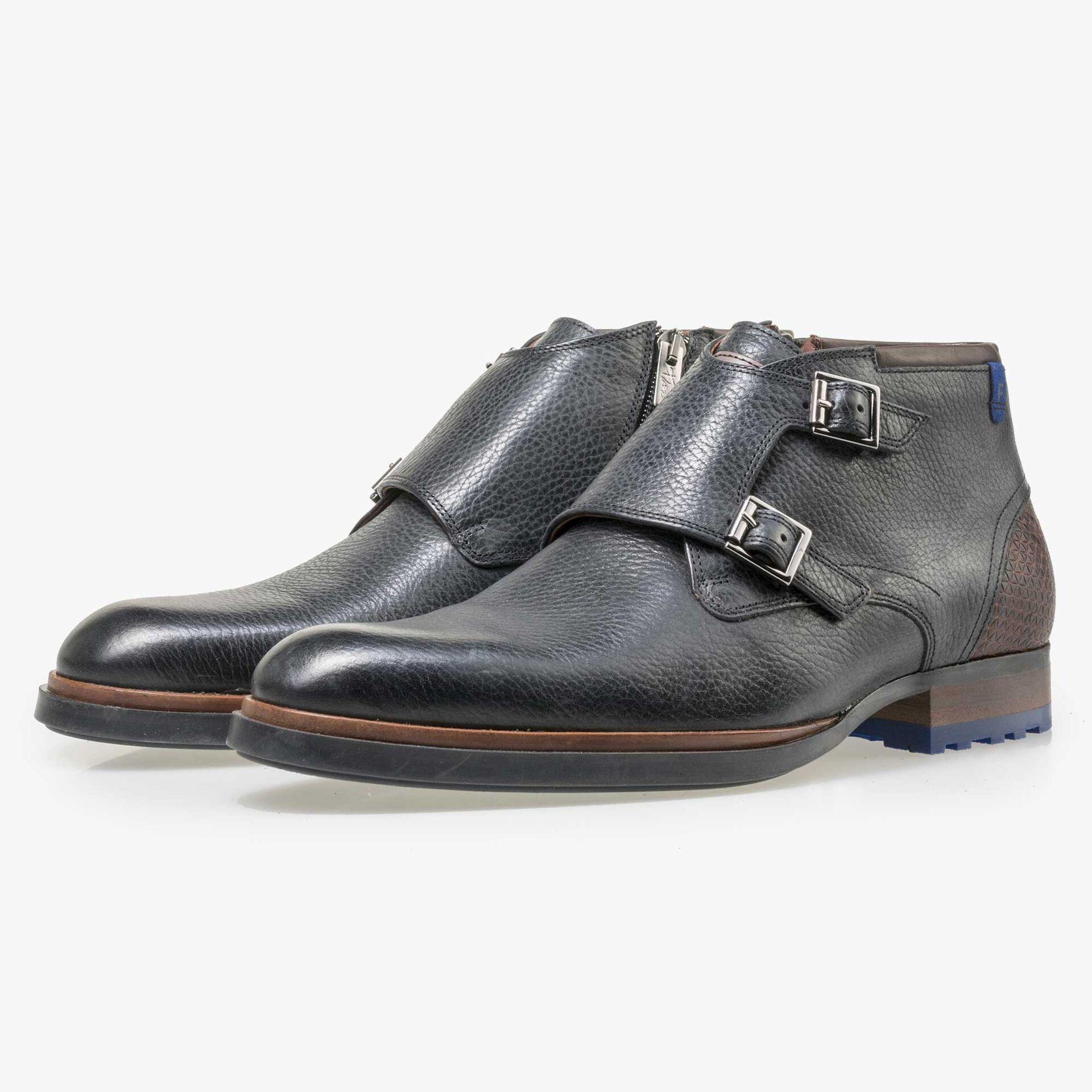 Floris van Bommel men's black leather zip boot
