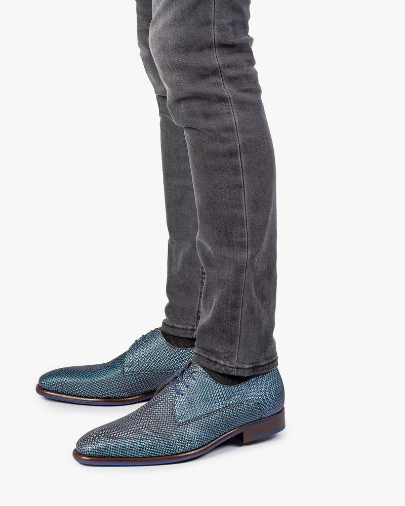 Schnürschuh blau metallic