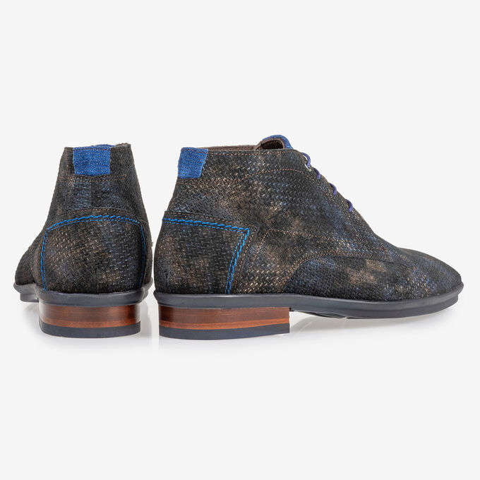 Lace boot with print bronze