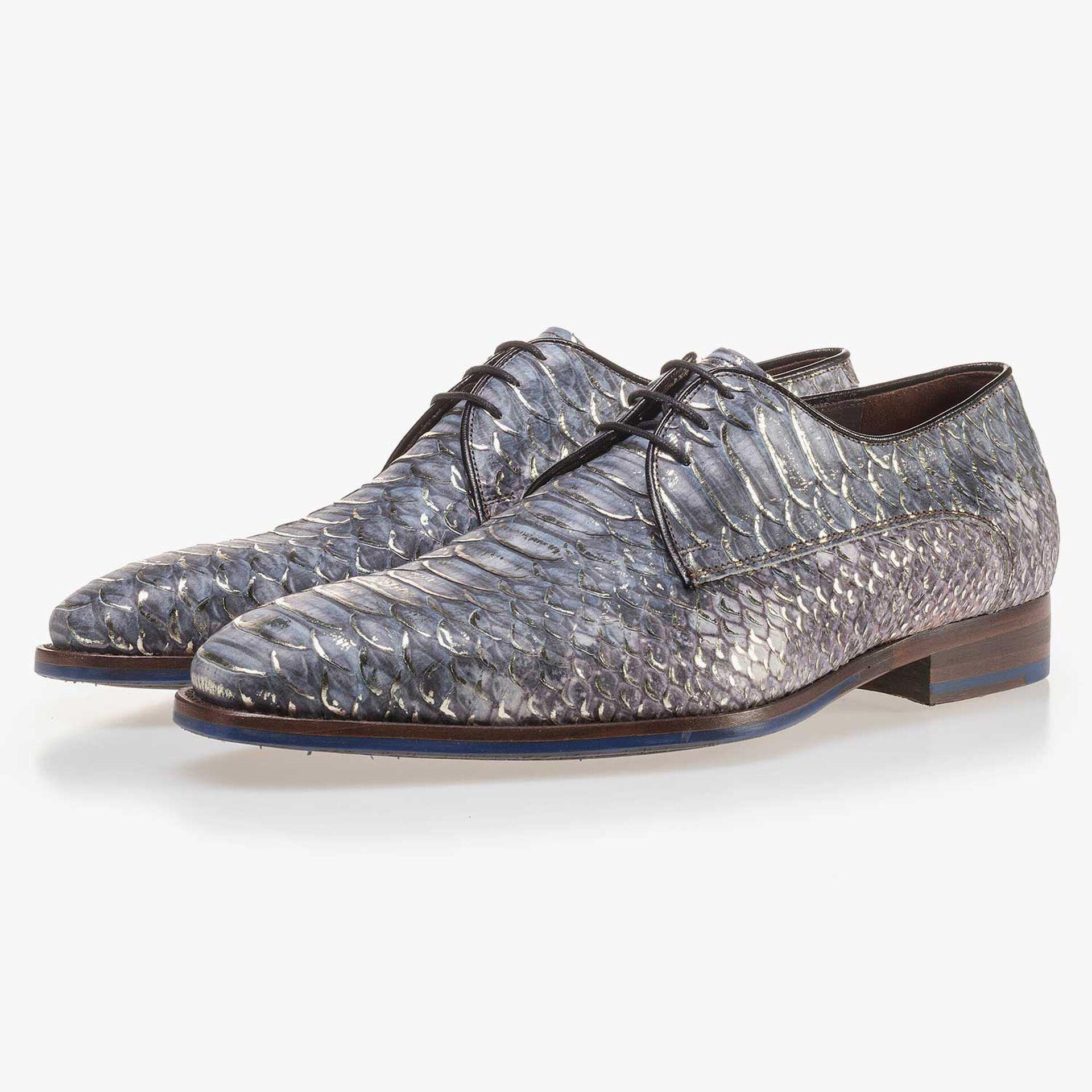 Blauer Premium Schnürschuh aus Leder mit Schlangenprint