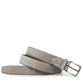 Taupe-colored suede leather belt