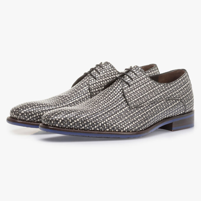 Dark grey lace shoe with white print