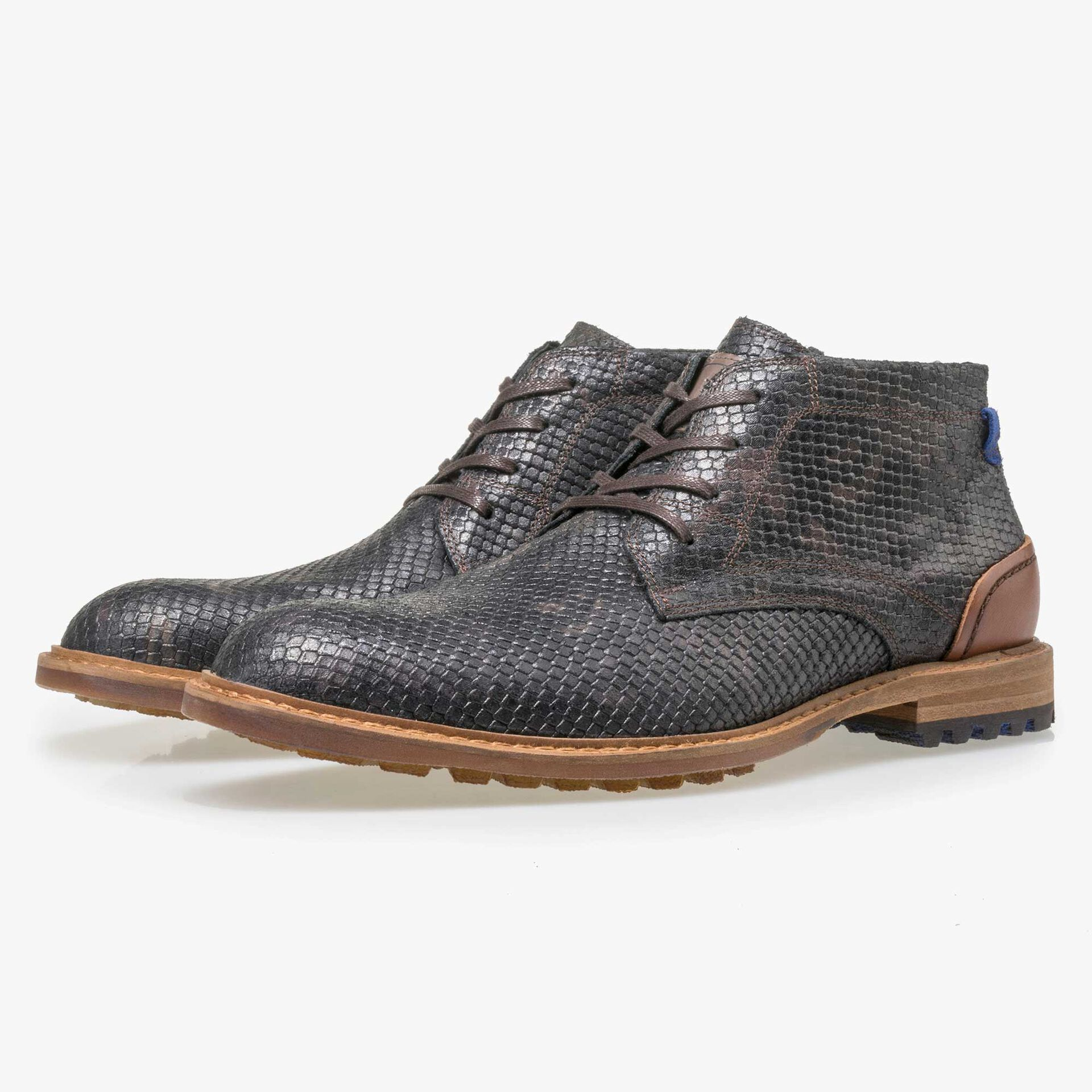 Floris van Bommel men's black leather lace boot finished with a snake print