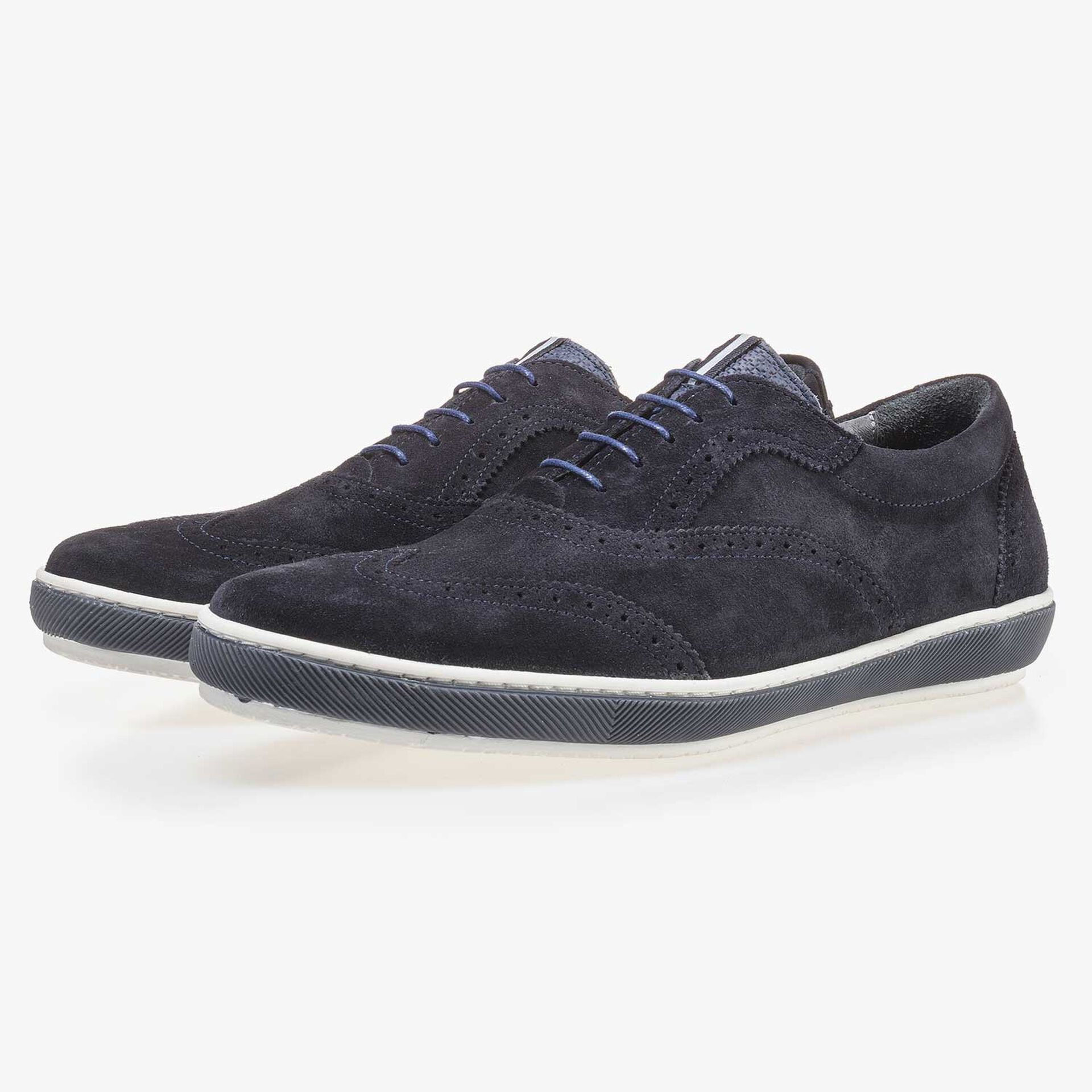 Dark blue suede leather brogue shoe