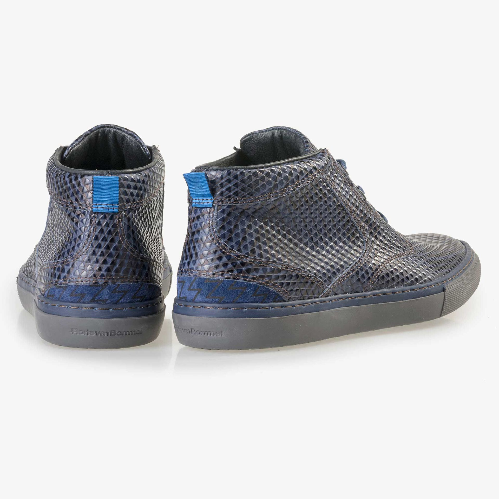 Floris van Bommel men's blue leather lace boot finished with a striped pattern