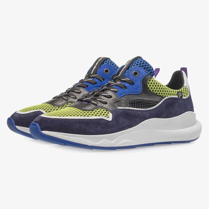 Dark blue and multi-coloured suede leather sneaker