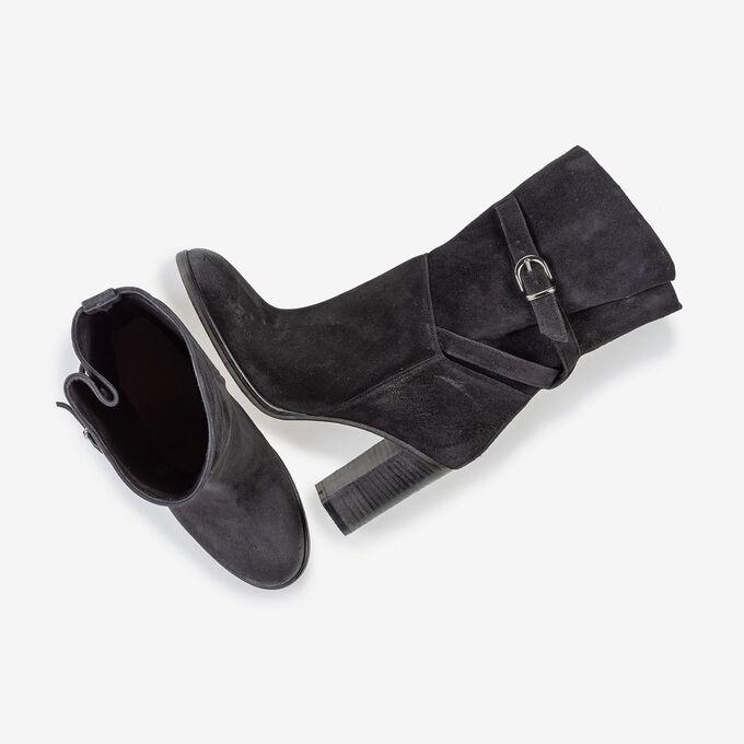 Halbhoher Stiefel schwarz Wildleder