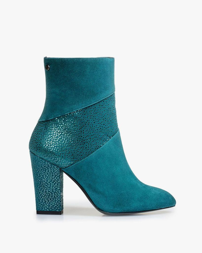 Blaue Stiefelette mit Metallic-print