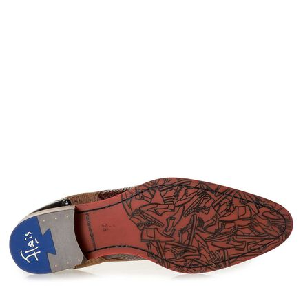 Snake print leather lace shoe
