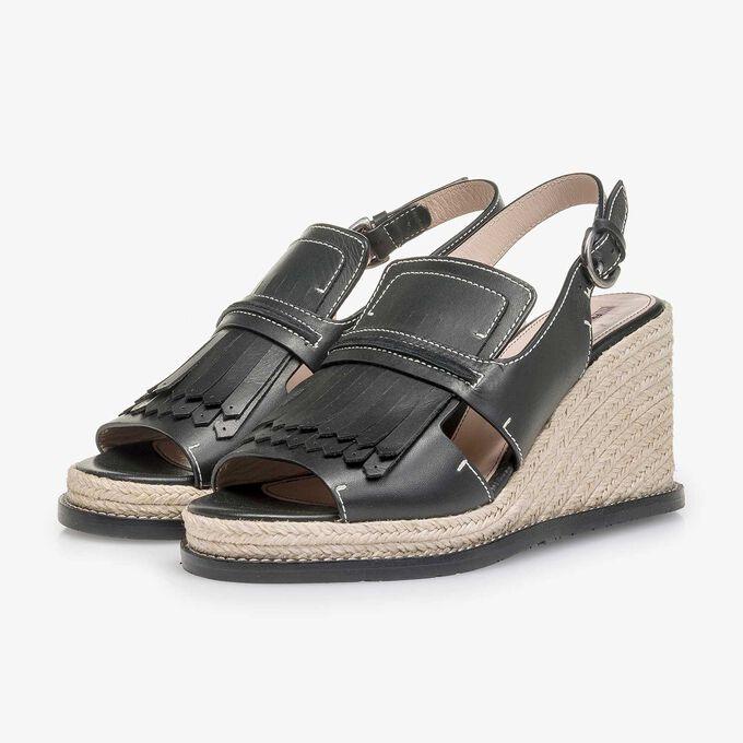 Schwarze Espadrille-Sandale mit Keilabsatz
