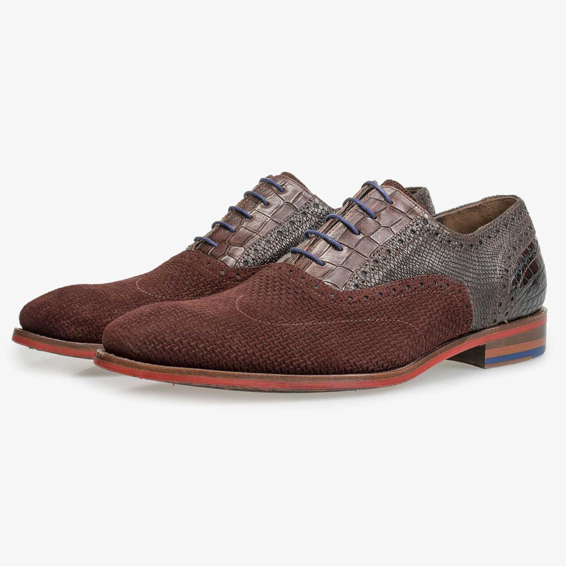 Burgundy red brogue lace shoe