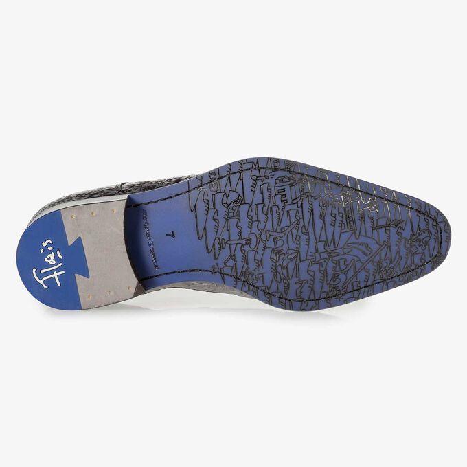 Dunkelgrauer Premium Lackleder-Schnürschuh mit Print