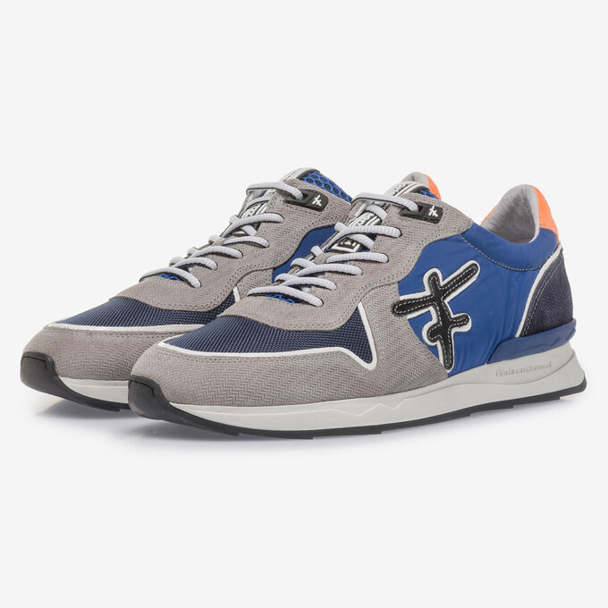 Grey and blue suede leather sneaker