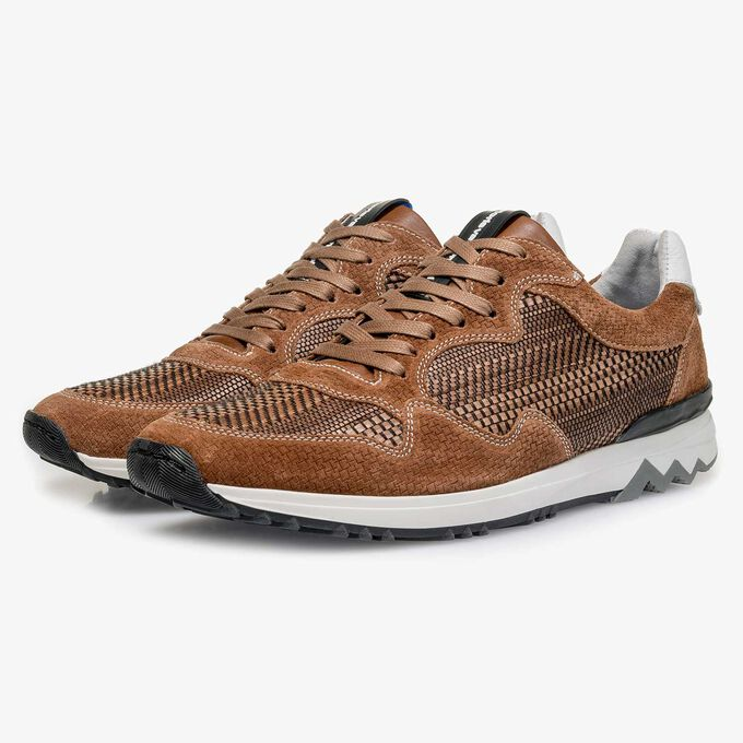 Cognac suede leather sneaker with a pattern
