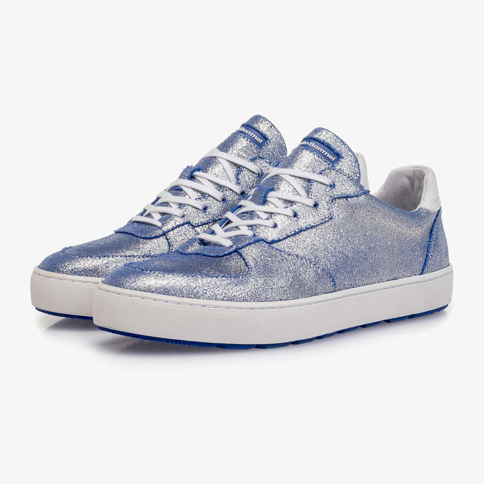Silber Metallic Leder-Sneaker mit changierendem Effekt