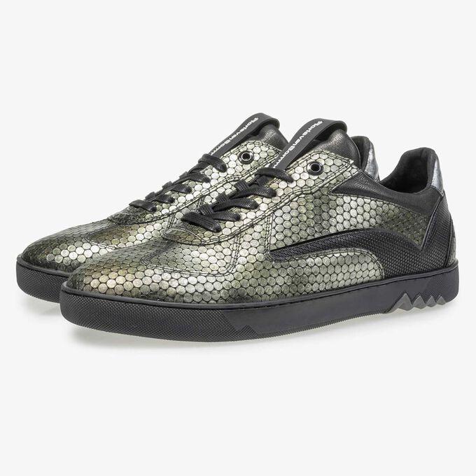 Grüner Leder-Sneaker mit Metallicprint