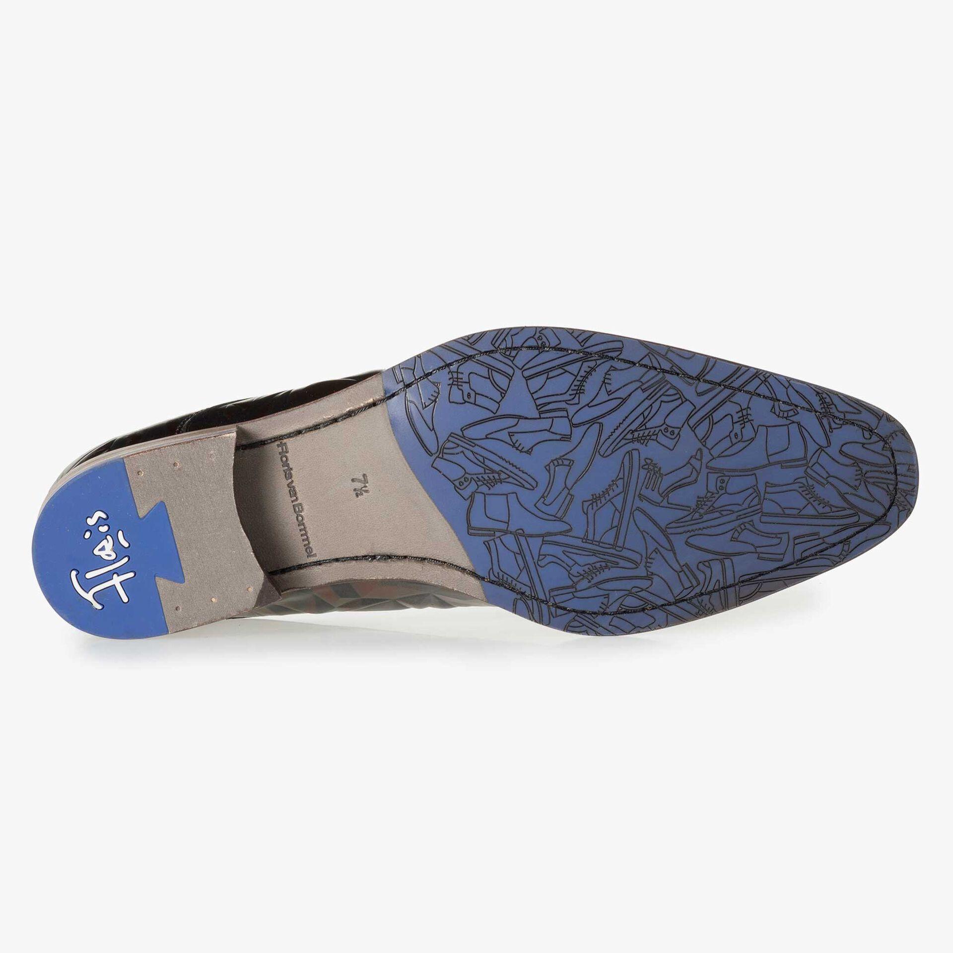 Floris van Bommel dunkelbrauner Herren Leder Schnürschuh mit einem schwarzen 3D-Print