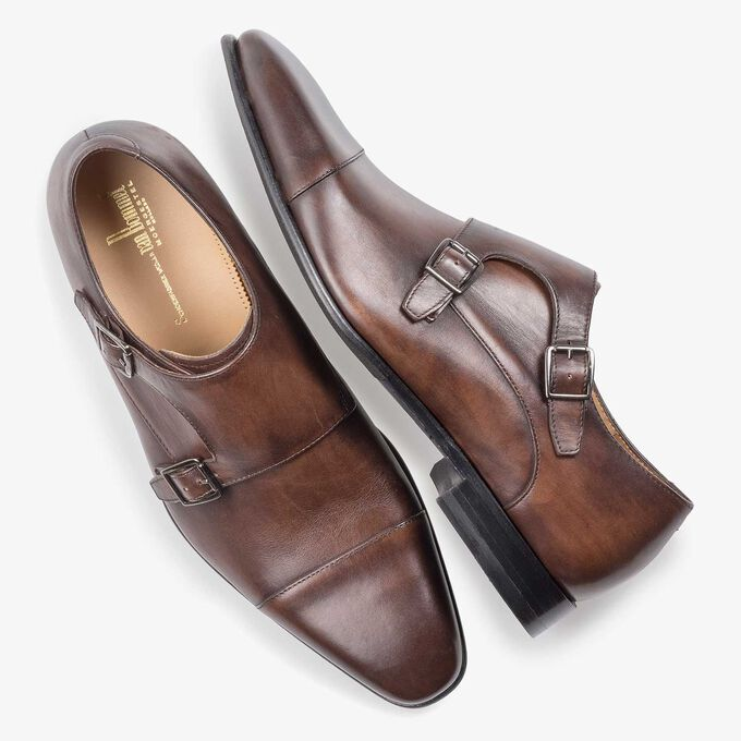 Dark brown calf leather monk strap