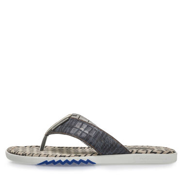 Printed leather thong slipper