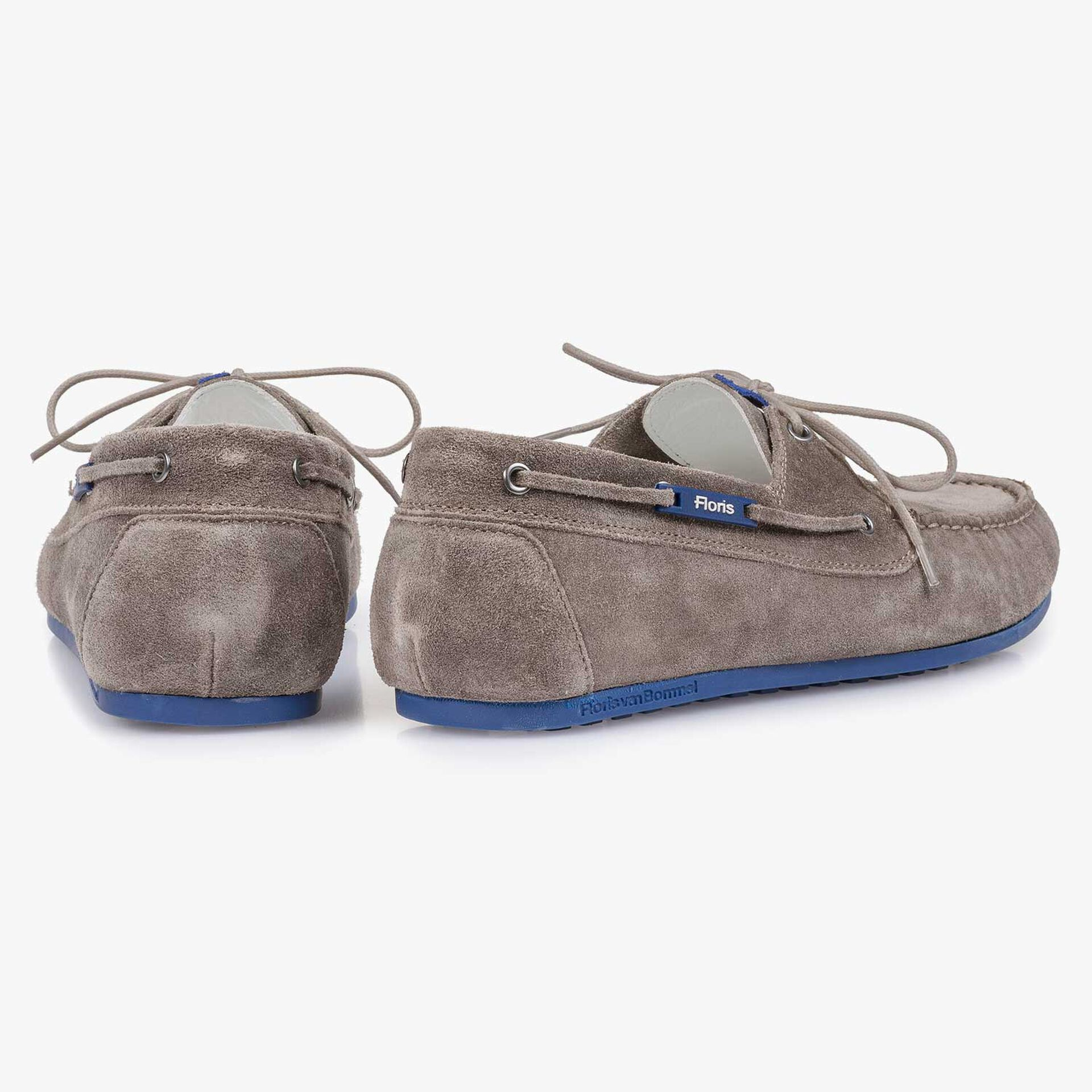 Taupe-coloured slightly buffed suede leather sailing shoe