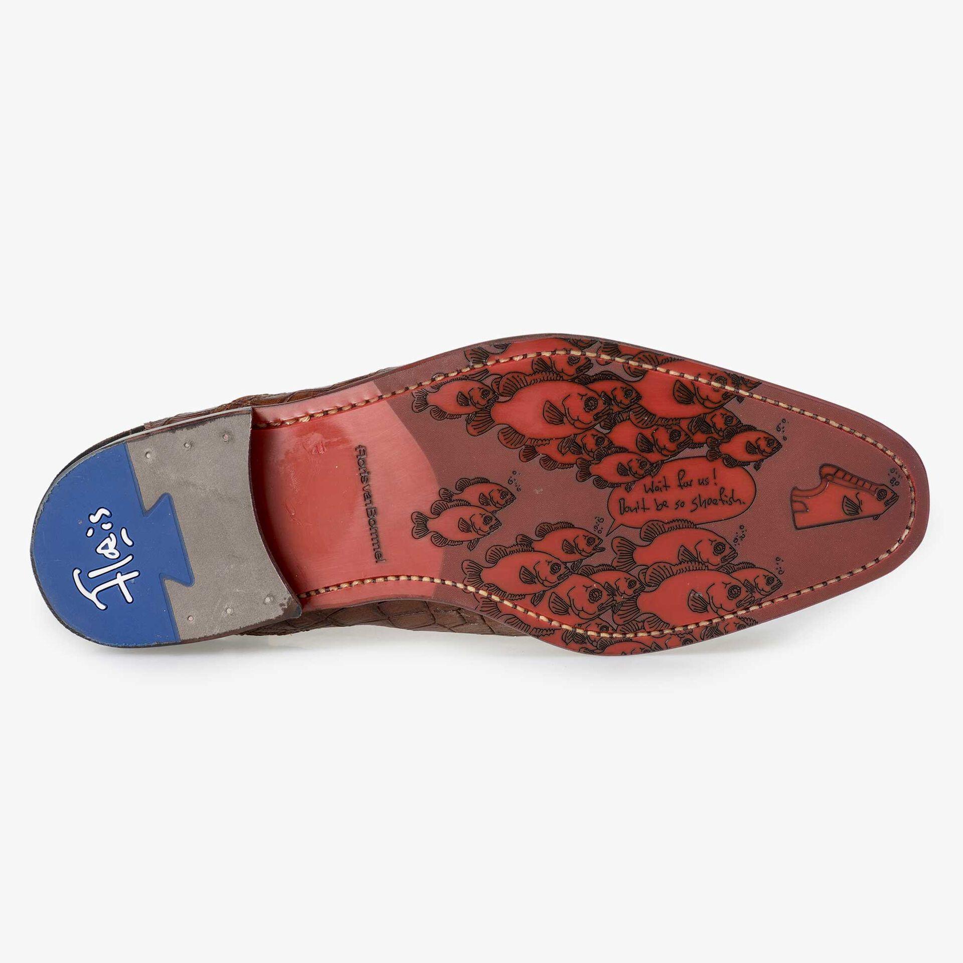 Floris van Bommel brauner Herren Chelsea Boot mit Krokoprint
