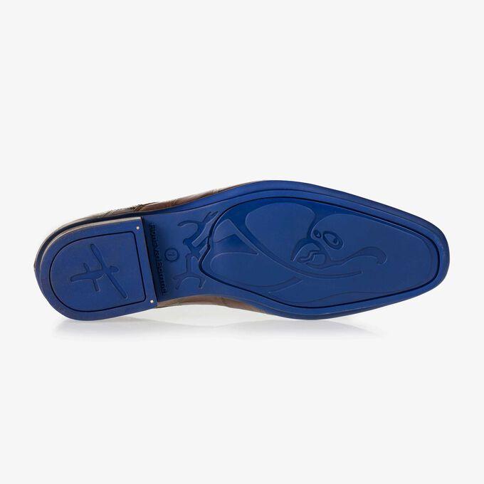 Brauner Leder Schnürschuh mit Krokoprint