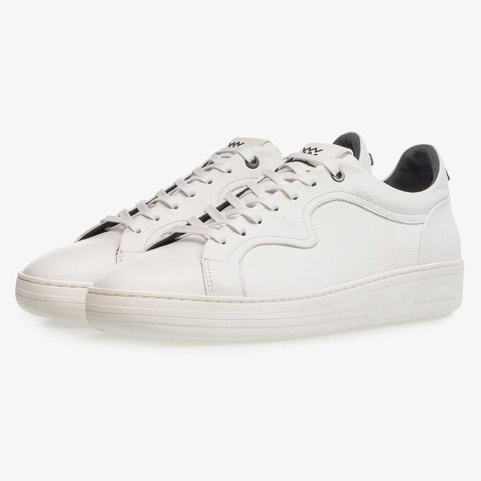 White calf leather sneaker with a subtle structural pattern