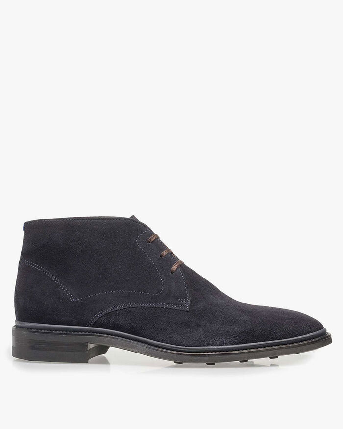Lace boot suede leather blue