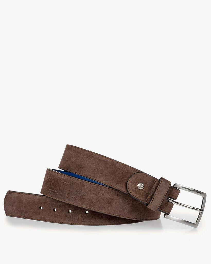 Dark brown suede leather belt