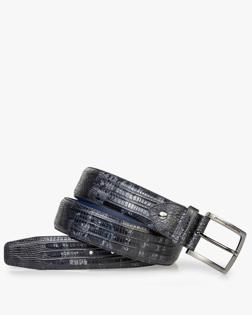 Leather belt lizard print dark grey