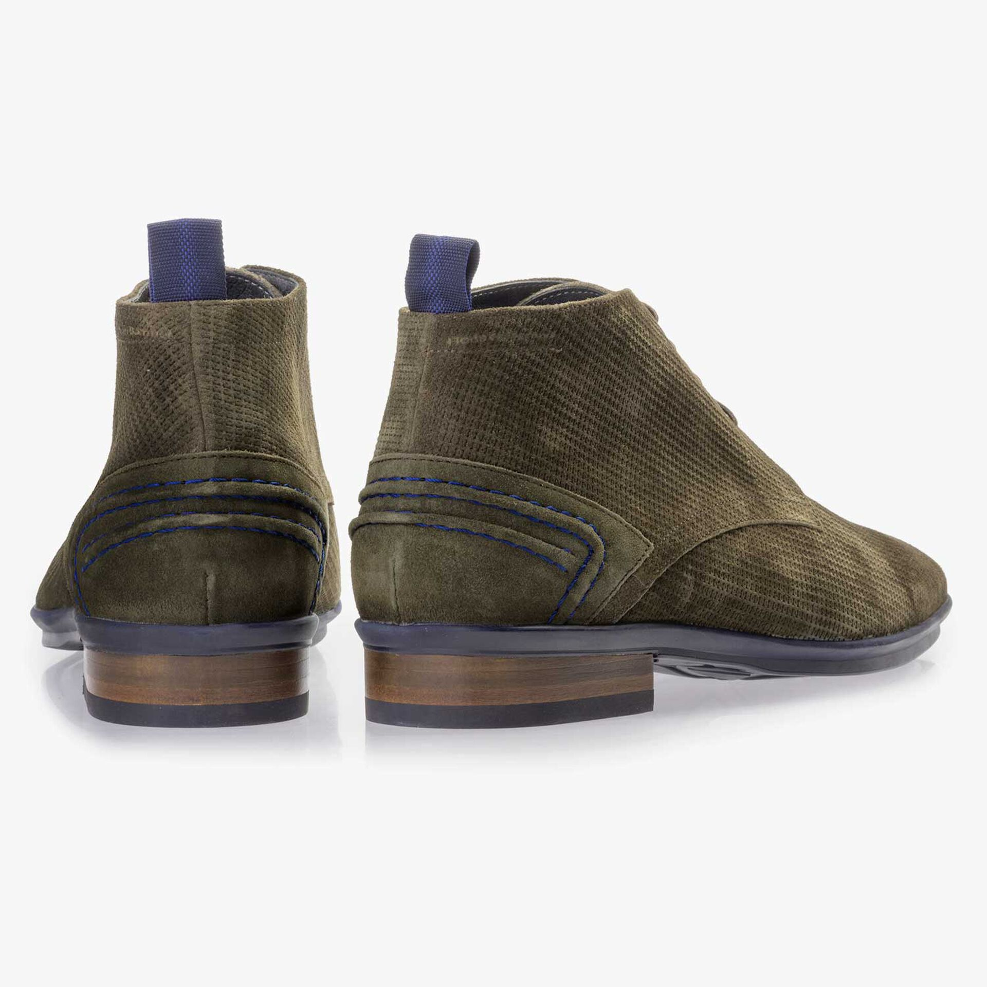 Olive green suede leather lace boot with pattern