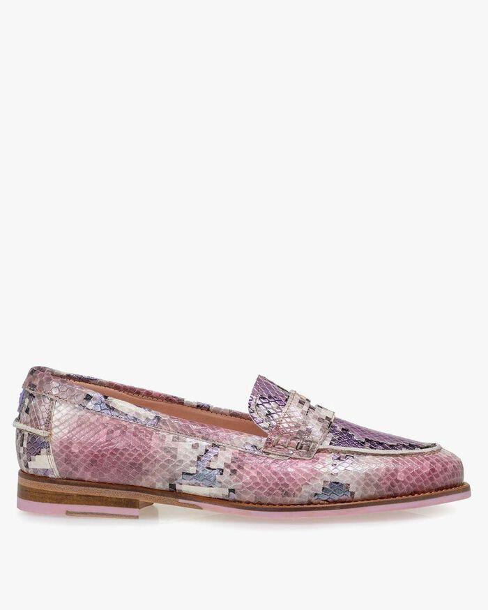 Loafer Leder mit Print pink