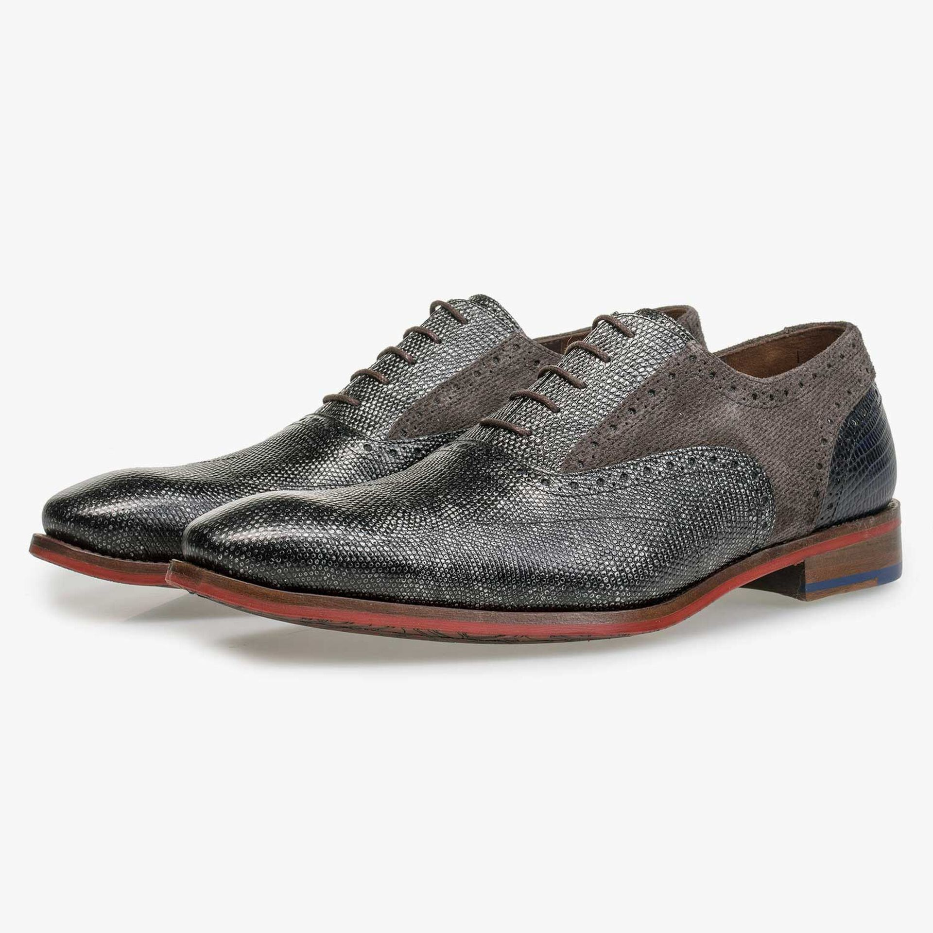 Grey Premium calf leather lace shoe