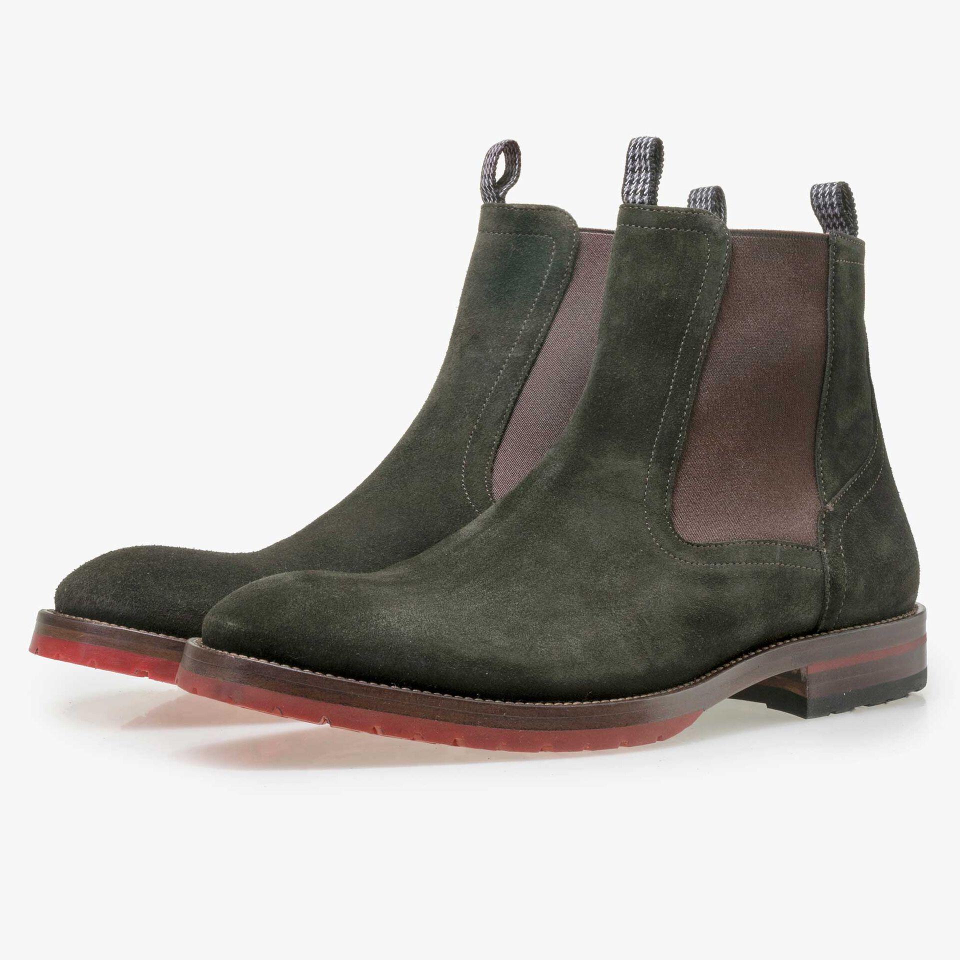 Floris van Bommel olivgrüner Herren Wildleder Chelsea Boot